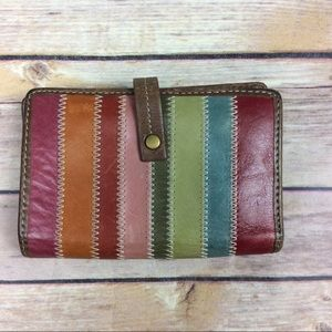 FOSSIL LEATHER TRIFOLD WALLET MultiColor Stripes